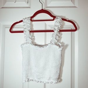 frill trim crop shirred top